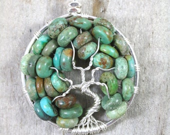 Turquoise Necklace Tree of Life Pendant Southwestern Jewelry December Birthstone Wire Wrapped Native American Green Aqua Gemstone RTS