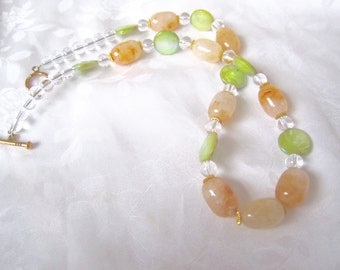 Yellow jade necklace with green mother of pearl coin beads / yellow jade stone barrel and coin beads jewelry for women
