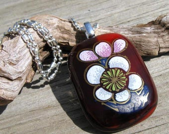 Fused Glass Apple Blossom Silver Necklace
