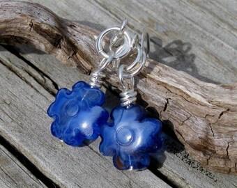 Blue Glass Flower Petite Earrings