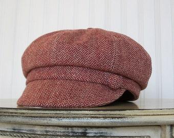 Womens Newsboy Cap, Maroon Wool,  Newsboy Hat, Womens Hat- Made to Order