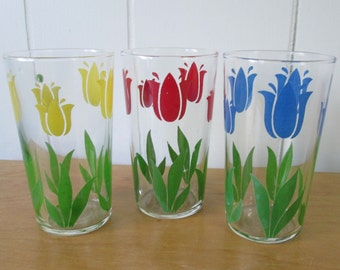 3 vintage tulip flower glasses