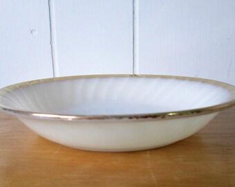 vintage Fire King milk glass swirl soup bowl
