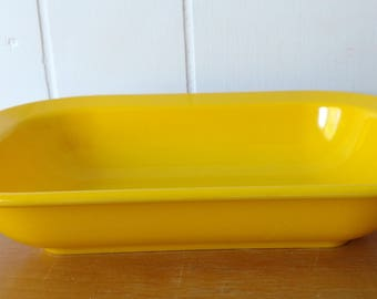 vintage yellow melmac serving oblong bowl Texas Ware
