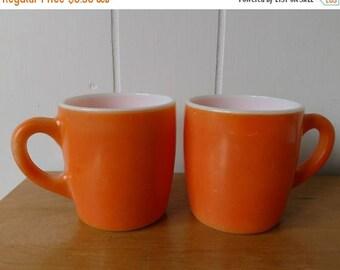 NEW ROOF SALE 2 vintage orange milk glass mugs