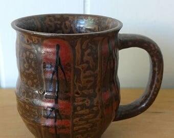 NEW ROOF SALE vintage brown ceramic boho mug
