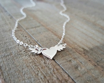 Heart with Wings Necklace, Winged Heart Silver Necklace, Layering Necklace, Heart Necklace, Silver Necklace, Love Jewelry