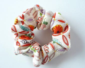 Japanese Hair Accessory, Chirimen Kimono Scrunchies, No Damage Scrunchy, Ponytail Holder, Handmade Hair Tie, Washable