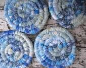 SPECIAL ORDER Reserved  for Karen  COASTER set   of  four aqua blend