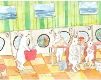 RESERVED for LS - Original Art - Laundromat - Watercolor Rabbit Painting