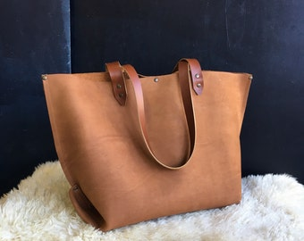 Caramel Suede Leather Tote-- FREE Shipping!