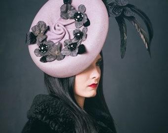 Lavender Wool Percher Hat Headpiece Lavender and Black