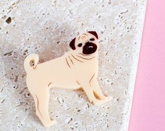 Pug brooch – pug gift – gift for dog lover – dog jewellery – pug jewelry – pug badge – pug-owner gift