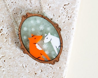 Fox Portrait Necklace - fox jewellery - fox jewelry - fox pendant - red fox - arctic fox - animal necklace - fox gift - gift for fox lover