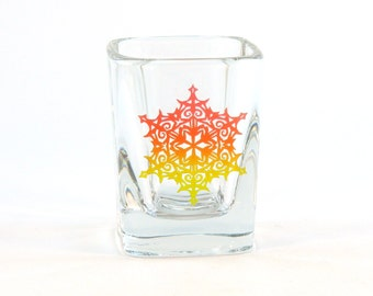 Snowflake Mandala - Prism Shot Glass - Snowflake Design 4 - Etched and Painted Glassware - Custom Made to Order