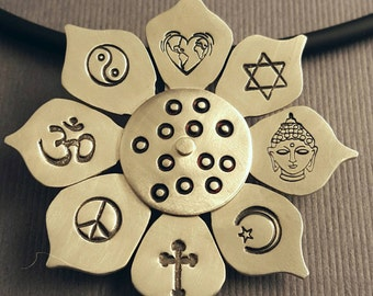 Peace Love and Coexistence Sterling Silver Lotus Blossom Pendant