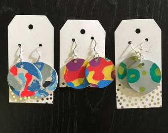 One of a Kind Handmade Poured Paint Earrings