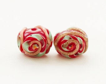Made to order Margo lampwork beads Christmas gold twist (2)