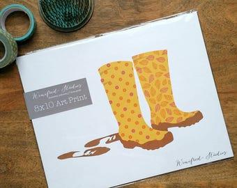 Muddy Wellies - 8x10 Art Print