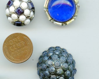 Rhinestone Buttons Lot of (3) BLUES Fancy Different Vintage Variety 3429