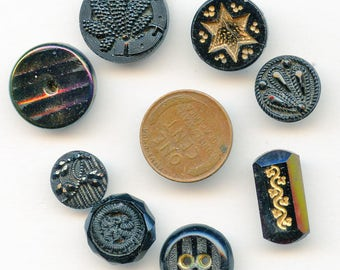 Lot (8) Antique Victorian Black Glass Buttons Different pictorial gold luster plant gold 3470