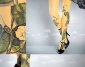 WinterSALE/// Tattoo Tights -  Climber Plant mustard one size full length closed toe pantyhose tattoo socks ,printed tights