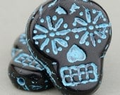 Czech Glass Sugar Skull Beads - Black and Turquoise - Quantity 4