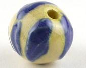Blue Stoneware Bead, Blue Bead, ceramic bead, stoneware bead, blue bead, texture bead chunky bead, blue bead, dark blue bead, cobalt blue