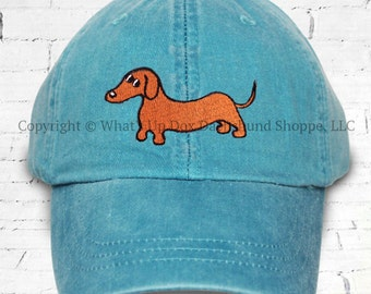 Embroidered Red Dachshund Ball Cap