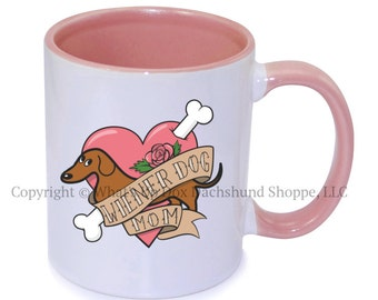 Dachshund Wiener Dog Mom Tattoo Ceramic Coffee Mug / Red
