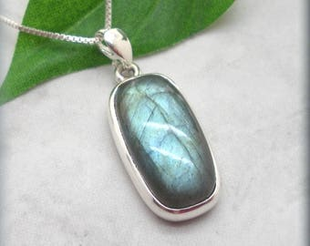 Blue Labradorite Necklace, Sterling Silver, Labradorite Pendant Jewelry, Gemstone Necklace, Natural Stone, Blue Flash, Drop Necklace (SN996)