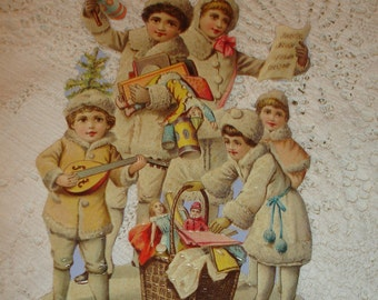 WINTER children*Die Cut*Made in England*Use for design work*Art  work*Collage*Decoupage