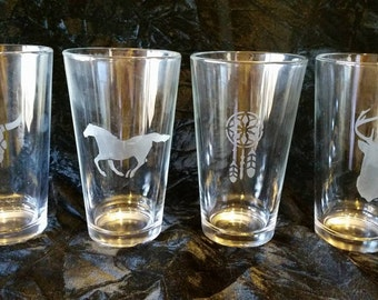Set of 4 Etched Pint Glasses-Western