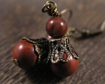 SALE rustic mookaite stone, jasper and antique brass handmade earrings