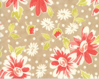 Coney Island - Blooms in Boardwalk Tan: sku 20280-18 cotton quilting fabric by Fig Tree and Co. for Moda Fabrics - 1 yard