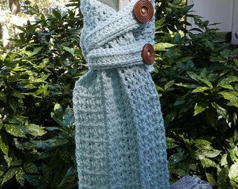 Hand Crocheted Heartford Buttoned Scarf  Ready to ship