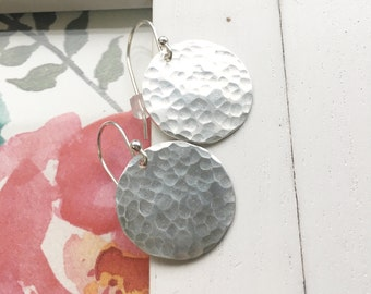 Large Hammered Silver Dangle Earrings Big Sterling Circle Earing Earings with Hammered Discs Textured Jewelry Hook Earrings Gift Idea
