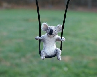 Tiny Koala Necklace / sculpture - needle felted