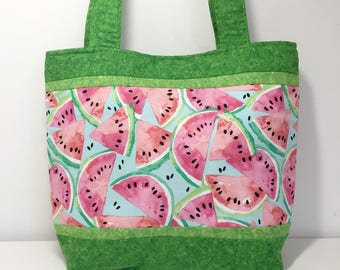 Watermelon Tote Bag, Pink and Green Medium Tote with Pockets, Watermelon Fabric Purse