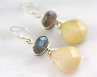 Yellow Jade and Labradorite Silver Earrings