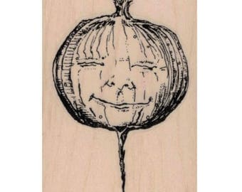 rubber stamp original Whimsical Turnip Face  onion man vegetable men zentangle  Mary Vogel Lozinak  tateam EUC team 20106
