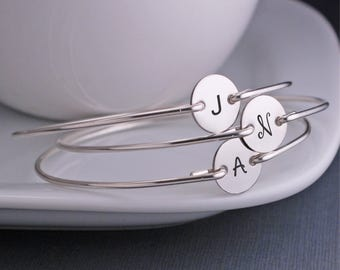 Bracelets for Bridesmaids, FIVE Personalized Bridesmaid Jewelry, Wedding Jewelry, Sterling Silver Initial Bangle Bracelets