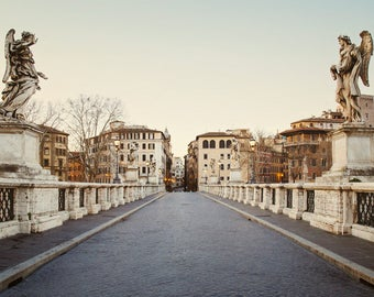 "Rome Print, ""Bridge of Angels"" in Rome Italy, Ponte Sant'Angelo, Italy Wall Art, Fine Art Photography, European City Print"