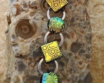 Classic Dichroic Bracelet, Silver Link Bracelet, Fused Glass Bracelet, Dichroic Link Bracelet, Geometric Art Deco -  Golden Raindrops