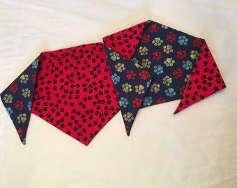Red and Blue Paw Print Tie On Dog Bandana