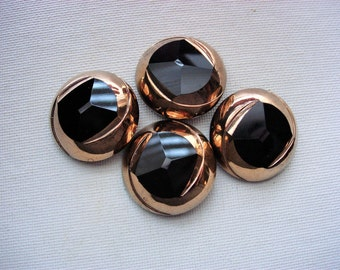 Lovely and Large Vintage Black Glass Buttons with Gold Luster