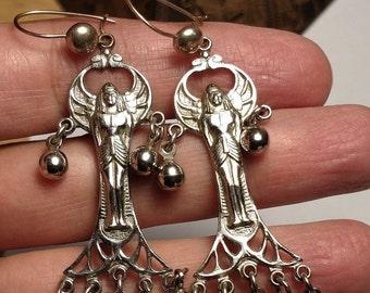 Flash Sale Vintage Long Chandelier Silver Egyptian Revival Winged Goddess Art Deco Earrings Pierced Spheres Dangles
