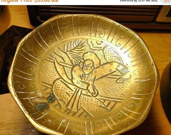 Antique Asian Carved Samurai Motif Footed Tray Dish Incense Burner Brass Old Rustic Worn Vintage Candleholder