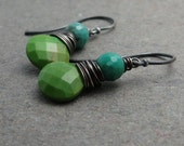 Green Turquoise Earrings Chrysoprase Wire Wrapped Sterling Silver Earrings Gift for Wife December Birthstone