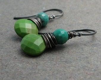 Green Turquoise Earrings Chrysoprase Earrings Wire Wrapped Earrings Sterling Silver Earrings Gift for Wife December Birthstone Earrings